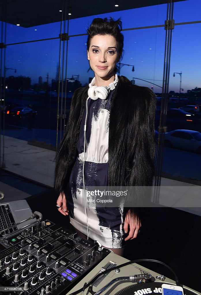 Musician St. Vincent, wearing Max Mara, performs at the Max Mara, celebration of the opening of The Whitney Museum Of American Art at its new location on April 24, 2015 in New York City.