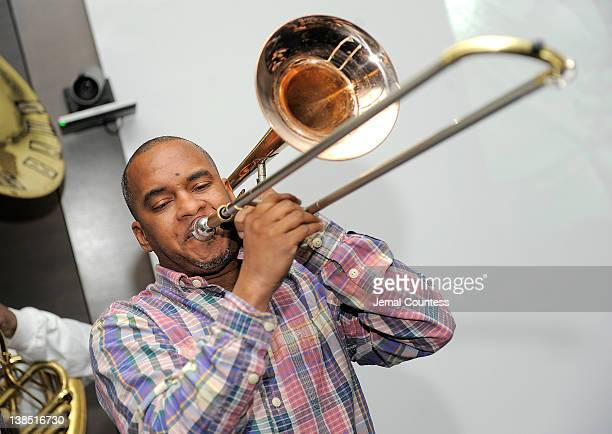Musician Stafford Agee of The Rebirth Brass Band performs during City Harvest's Big Apple Big Easy Event at Riverpark Restaurant on February 7 2012...