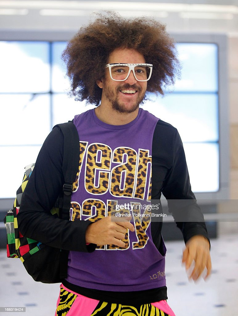 Musician Stefan 'Redfoo' Kendal Gordy of LMFAO arrives at Sydney International Airport on May 9 2013 in Sydney Australia Redfoo will be a guest judge...
