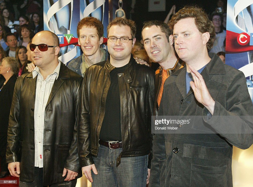 Musician Stephen Page and other members of the Barenaked Ladies music group arrive for the JUNO Awards ceremony at the Rexall Centre April 4 2004 in...