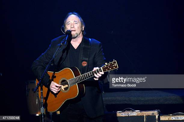 Musician Stephen Stills performs on stage during the 3rd Light Up the Blues Concert to benefit Autism Speaks held at the Pantages Theatre on April 25...