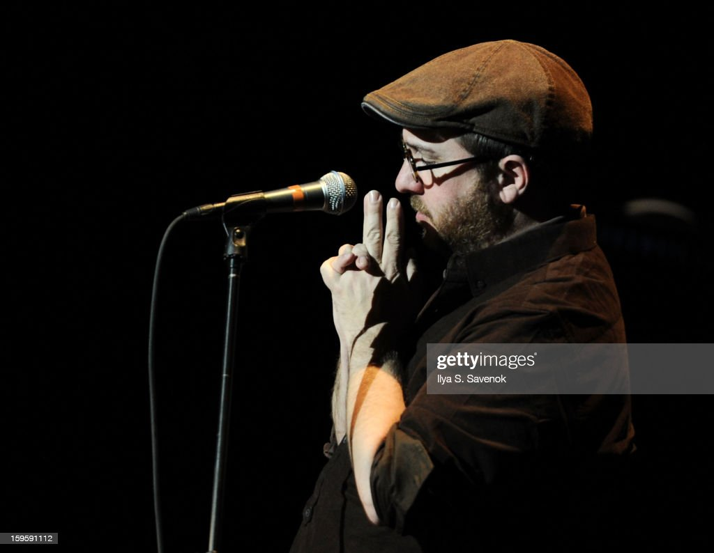 Musician Stephin Merritt performs during Life Along The Borderline: A Tribute To Nico at BAM on January 16, 2013 in New York City.