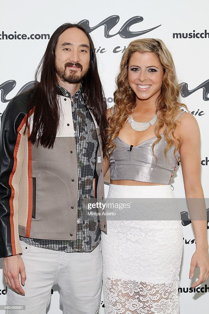 Musician Steve Aoki and Music Choice host Clare Galterio visit Music Choice's 'You & A' on May 20, 2014 in New York, United States.