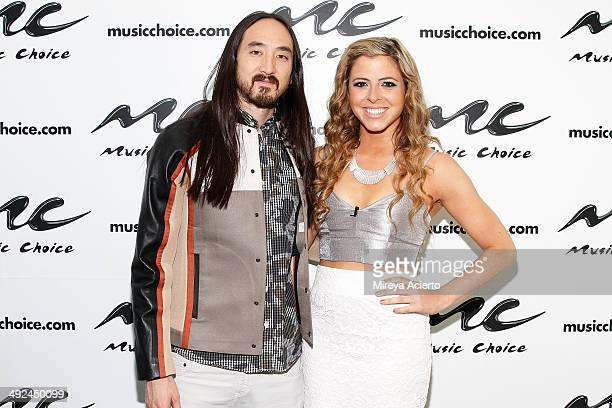 Musician Steve Aoki and Music Choice host Clare Galterio visit Music Choice's 'You A' on May 20 2014 in New York United States