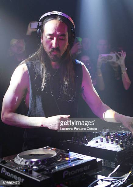 Musician Steve Aoki performs onstage at Steve Aoki's birthday party and 20th anniversary on November 29 2016 in Los Angeles California