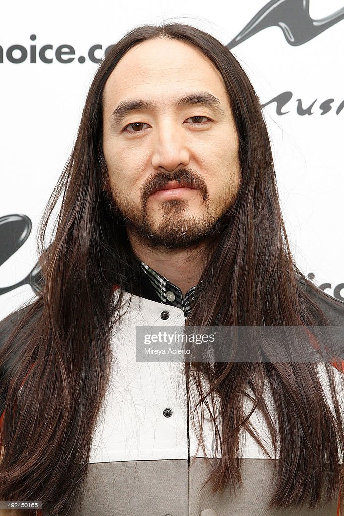 Musician <a gi-track='captionPersonalityLinkClicked' href=/galleries/search?phrase=Steve+Aoki&family=editorial&specificpeople=732001 ng-click='$event.stopPropagation()'>Steve Aoki</a> visits Music Choice's 'You & A' on May 20, 2014 in New York, United States.