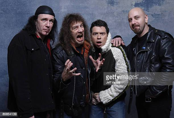 Musician Steve 'Lips' Kudlow Musician Robb Reiner Director Sacha Gervasi and Musician G5 at the 360 Sky Delta Lounge WireImage Portrait Studio on...