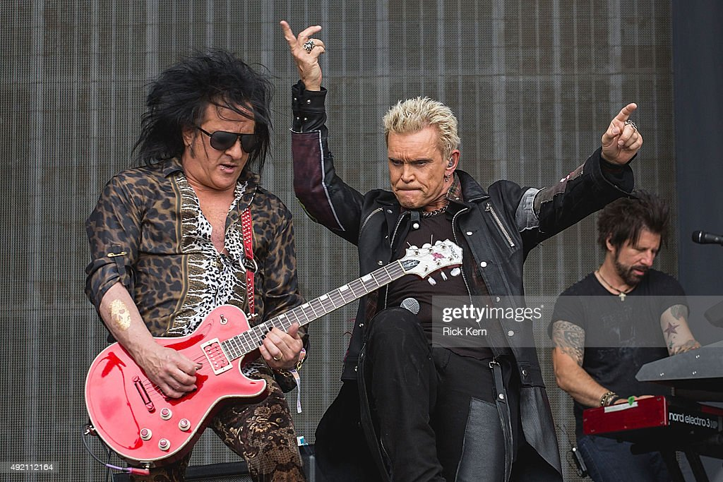 Musician <a gi-track='captionPersonalityLinkClicked' href=/galleries/search?phrase=Steve+Stevens&family=editorial&specificpeople=225031 ng-click='$event.stopPropagation()'>Steve Stevens</a> (L) and singer-songwriter <a gi-track='captionPersonalityLinkClicked' href=/galleries/search?phrase=Billy+Idol&family=editorial&specificpeople=138578 ng-click='$event.stopPropagation()'>Billy Idol</a> perform onstage during weekend two, day one of Austin City Limits Music Festival at Zilker Park on October 9, 2015 in Austin, Texas.