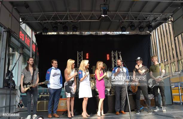 Musician Steve Stout of Lifehouse cohosts Todd Pirro Ainsley Eardhart Janice Dean Jillian Mele and Pet Hegseth and musicians Jason Wade and Bryce...