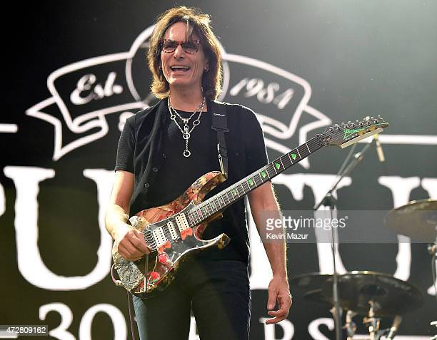 Musician Steve Vai performs with Sepultura onstage during Rock In Rio USA at the MGM Resorts Festival Grounds on May 9 2015 in Las Vegas Nevada