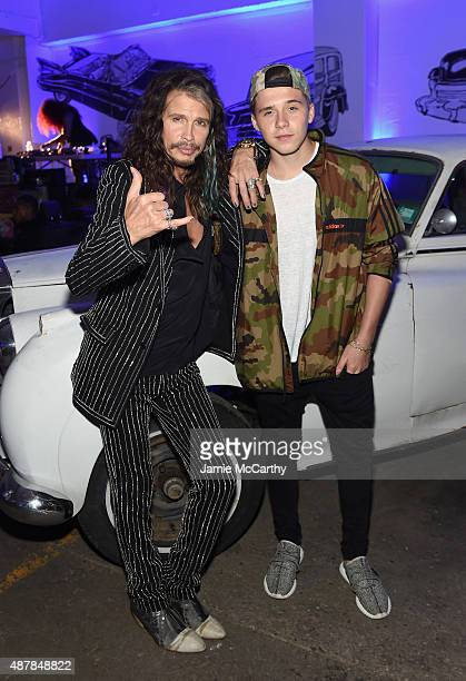 Musician Steven Tyler and Brooklyn Beckham attend the Givenchy SS16 after party on September 11 2015 in New York City