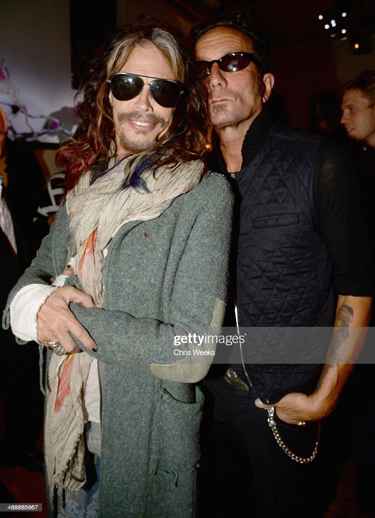 Musician Steven Tyler (L) and owner/designer of Chrome Hearts Richard Stark attend Chrome Hearts & Kate Hudson Host Garden Party To Celebrate Collaboration at Chrome Hearts on May 8, 2014 in Los Angeles, California.