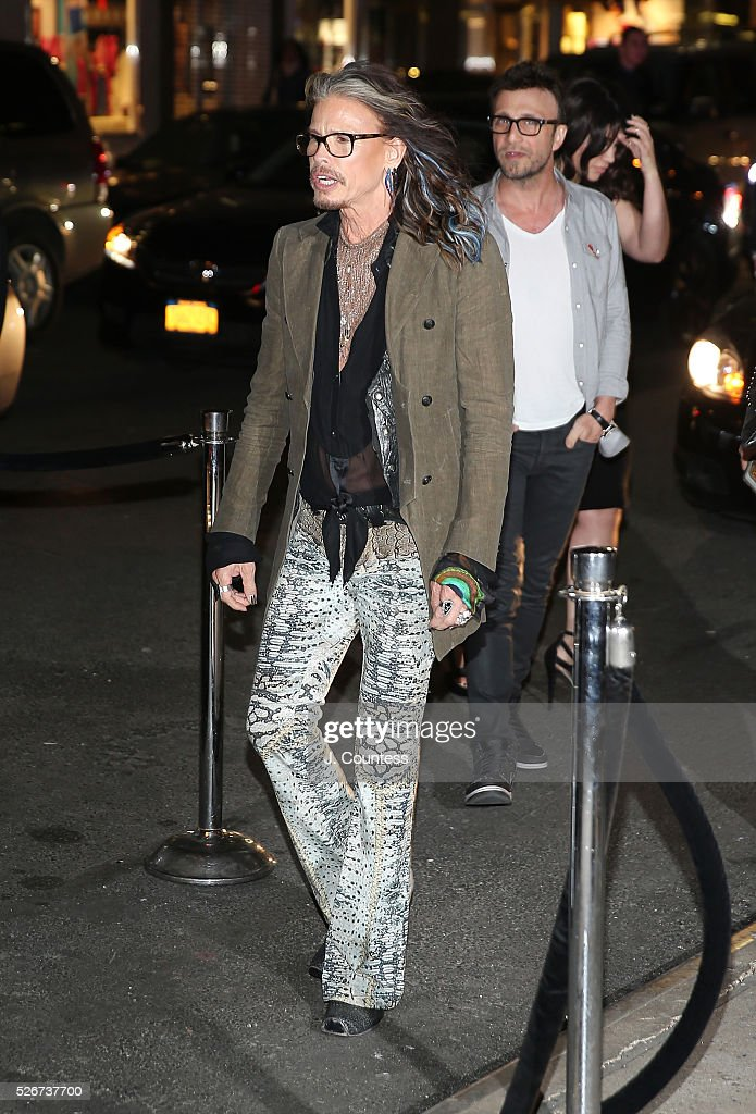Musician Steven Tyler arrives at the 'Steven Tyler...Out On A Limb' Kick Off Celebration at Lavo on April 30, 2016 in New York City.