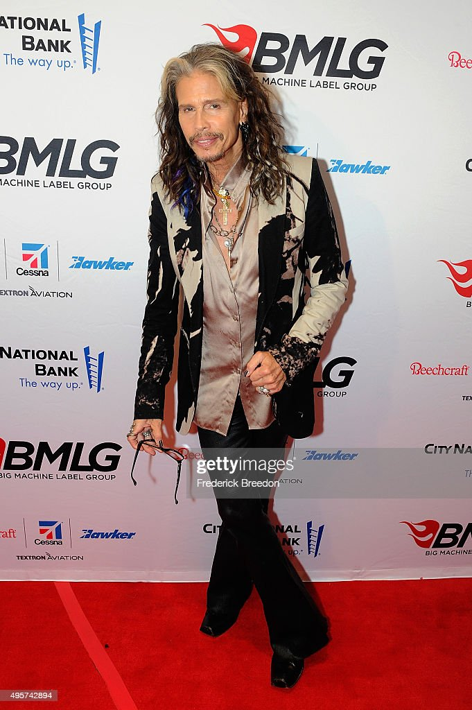 Musician <a gi-track='captionPersonalityLinkClicked' href=/galleries/search?phrase=Steven+Tyler+-+Musician&family=editorial&specificpeople=202080 ng-click='$event.stopPropagation()'>Steven Tyler</a> attends as Big Machine Label Group celebrates The 49th Annual CMA Awards at Rosewall on November 4, 2015 in Nashville, Tennessee.