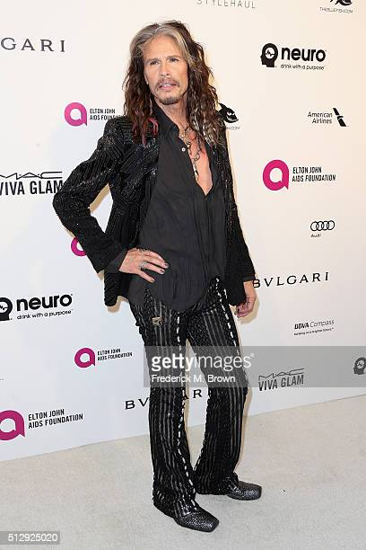 Musician Steven Tyler attends the 24th Annual Elton John AIDS Foundation's Oscar Viewing Party on February 28 2016 in West Hollywood California