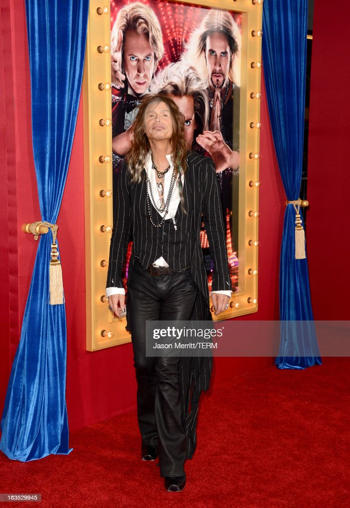 Musician <a gi-track='captionPersonalityLinkClicked' href=/galleries/search?phrase=Steven+Tyler+-+Musician&family=editorial&specificpeople=202080 ng-click='$event.stopPropagation()'>Steven Tyler</a> attends the premiere of Warner Bros. Pictures' 'The Incredible Burt Wonderstone' at TCL Chinese Theatre on March 11, 2013 in Hollywood, California.