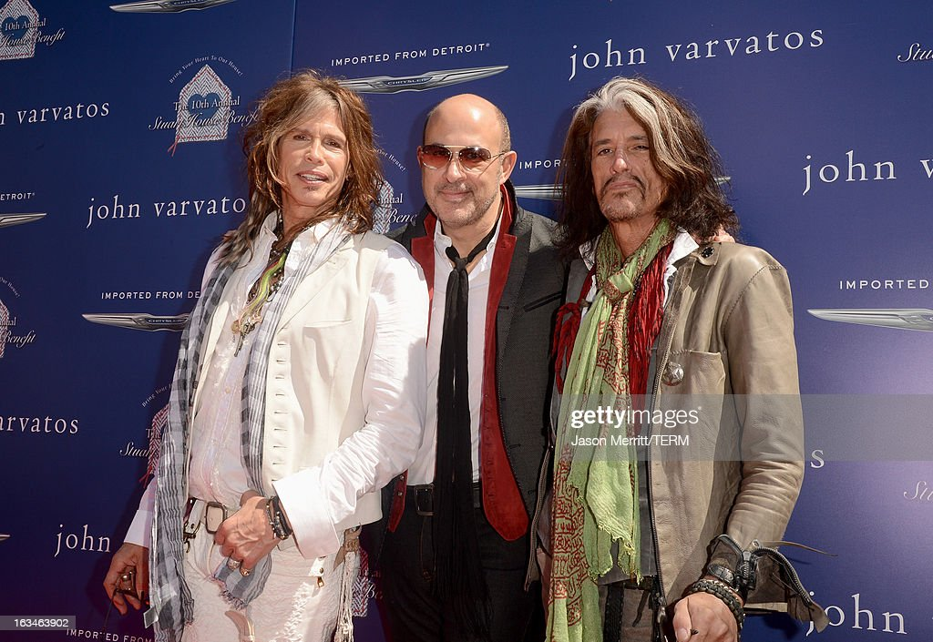 Musician <a gi-track='captionPersonalityLinkClicked' href=/galleries/search?phrase=Steven+Tyler+-+Musician&family=editorial&specificpeople=202080 ng-click='$event.stopPropagation()'>Steven Tyler</a>, designer John Varvatos, and musician <a gi-track='captionPersonalityLinkClicked' href=/galleries/search?phrase=Joe+Perry+-+Musician&family=editorial&specificpeople=13600677 ng-click='$event.stopPropagation()'>Joe Perry</a> attend the John Varvatos 10th Annual Stuart House Benefit presented by Chrysler, Kids Tent by Hasbro Studios, at John Varvatos Los Angeles on March 10, 2013 in Los Angeles, California.