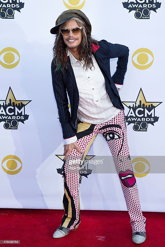 Musician <a gi-track='captionPersonalityLinkClicked' href=/galleries/search?phrase=Steven+Tyler+-+Musician&family=editorial&specificpeople=202080 ng-click='$event.stopPropagation()'>Steven Tyler</a> of Aerosmith attends the 50th Academy Of Country Music Awards at AT&T Stadium on April 19, 2015 in Arlington, Texas.