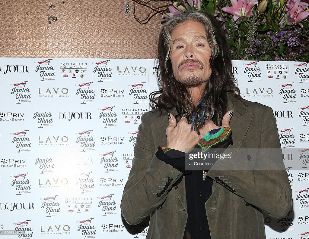 Musician Steven Tyler poses for a photo at the 'Steven Tyler...Out On A Limb' Kick Off Celebration at Lavo on April 30, 2016 in New York City.