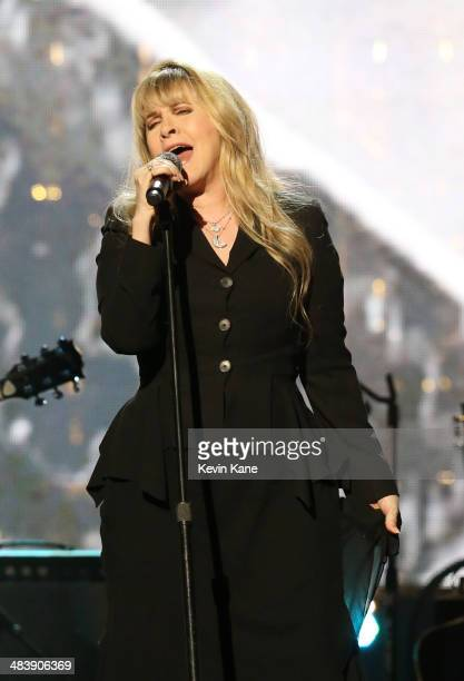 Musician Stevie Nicks performs onstage at the 29th Annual Rock And Roll Hall Of Fame Induction Ceremony at Barclays Center of Brooklyn on April 10...