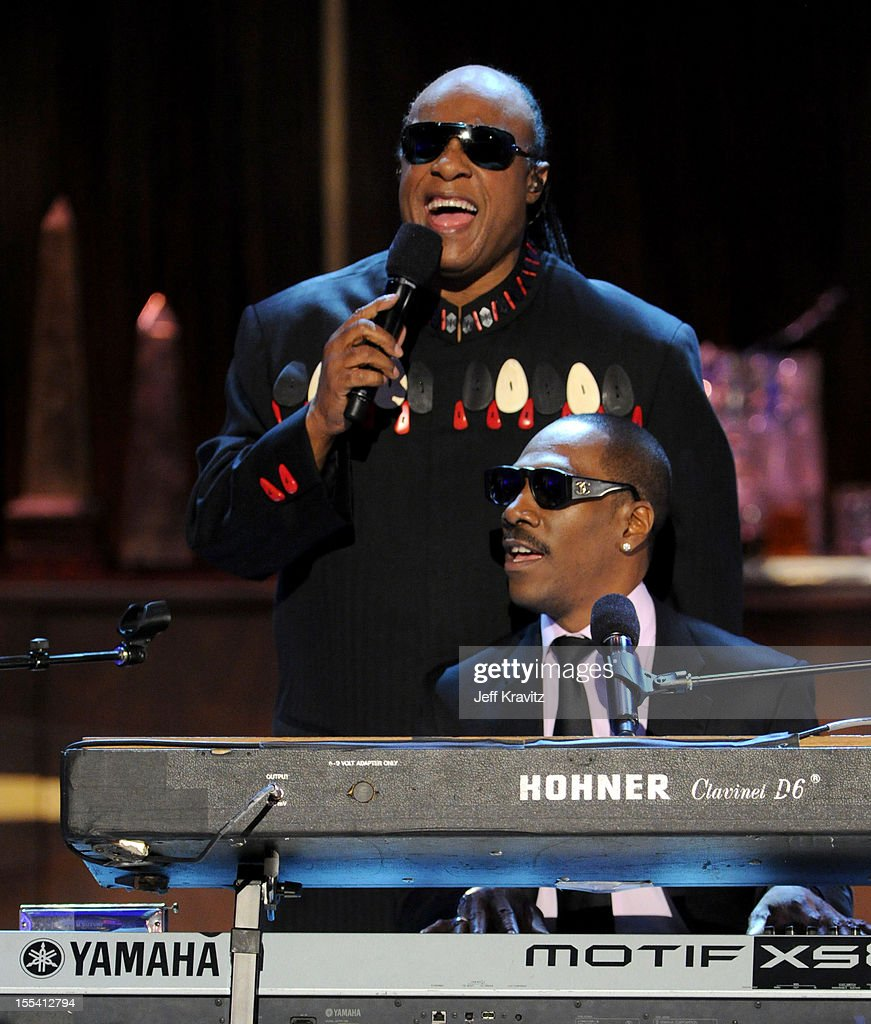 Musician <a gi-track='captionPersonalityLinkClicked' href=/galleries/search?phrase=Stevie+Wonder&family=editorial&specificpeople=171911 ng-click='$event.stopPropagation()'>Stevie Wonder</a> and honoree <a gi-track='captionPersonalityLinkClicked' href=/galleries/search?phrase=Eddie+Murphy&family=editorial&specificpeople=203093 ng-click='$event.stopPropagation()'>Eddie Murphy</a> perform onstage at Spike TV's '<a gi-track='captionPersonalityLinkClicked' href=/galleries/search?phrase=Eddie+Murphy&family=editorial&specificpeople=203093 ng-click='$event.stopPropagation()'>Eddie Murphy</a>: One Night Only' at the Saban Theatre on November 3, 2012 in Beverly Hills, California.