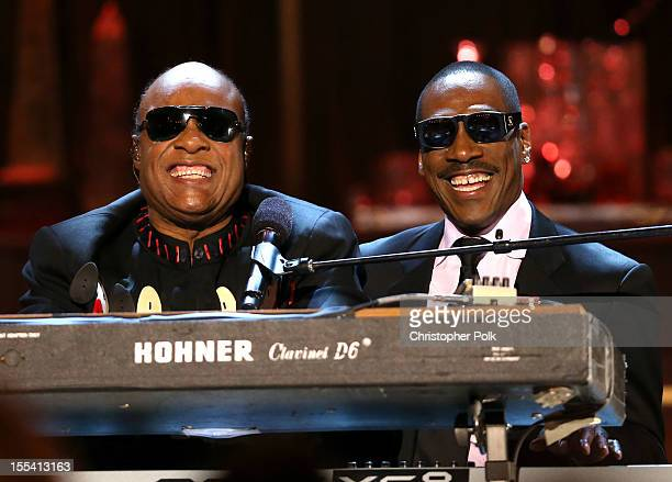 Musician Stevie Wonder and honoree Eddie Murphy perform onstage at Spike TV's 'Eddie Murphy One Night Only' at the Saban Theatre on November 3 2012...