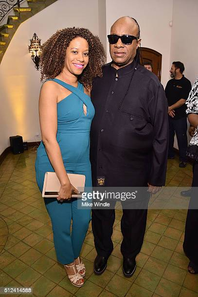 Musician Stevie Wonder and Tomeeka Robyn Bracy attend The Dinner For Equality cohosted by Patricia Arquette and Marc Benioff on February 25 2016 in...