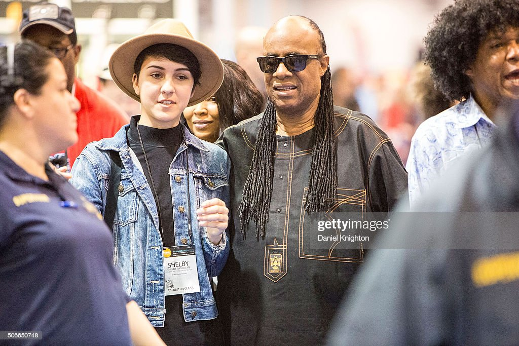 Musician Stevie Wonder attends NAMM Show Day 4 at Anaheim Convention Center on January 24 2016 in Anaheim California