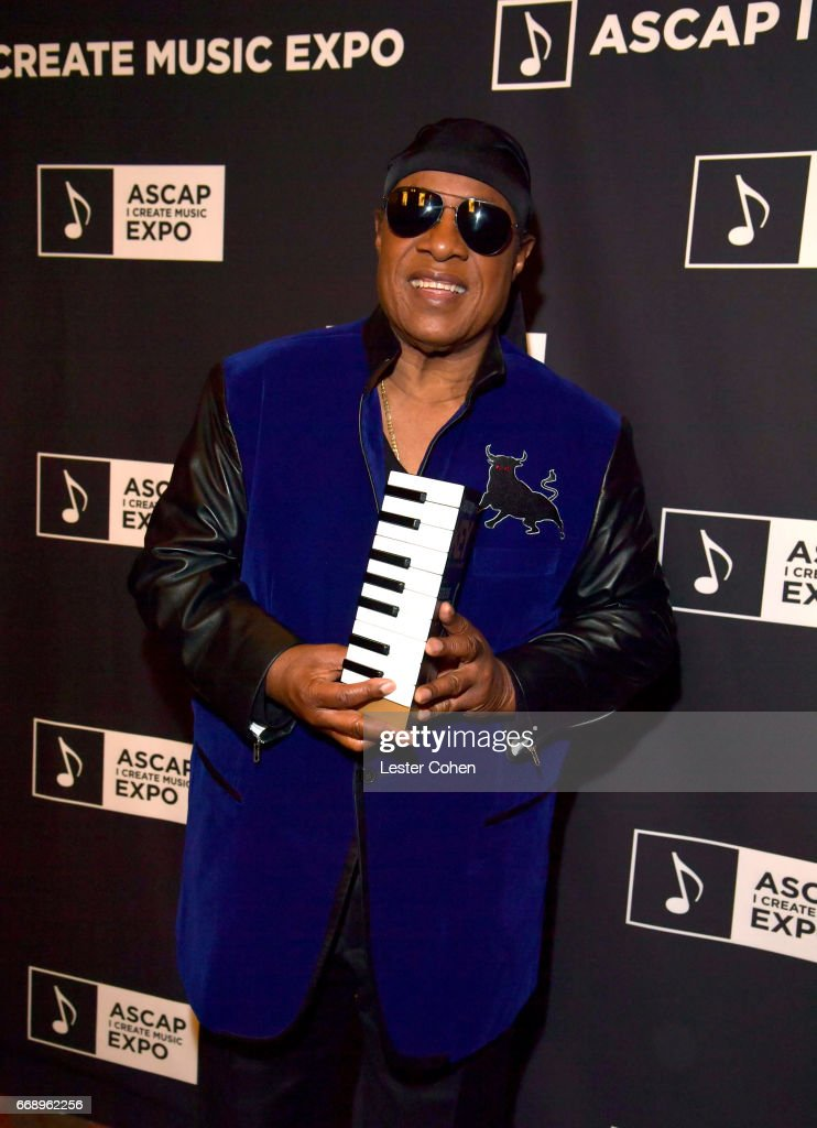 Musician Stevie Wonder attends Stevie Wonder presented with 'Key of Life' Award at the ASCAP 'I Create Music' Expo on April 15, 2017 in Los Angeles, California.