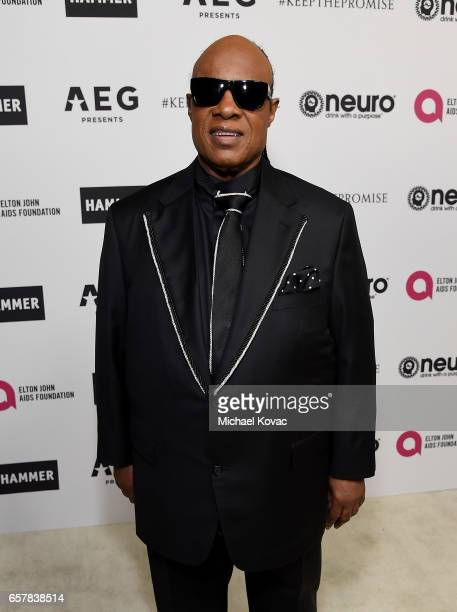 Musician Stevie Wonder celebrates Elton John's 70th Birthday and 50Year Songwriting Partnership with Bernie Taupin benefiting the Elton John AIDS...