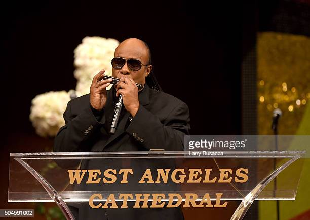 Musician Stevie Wonder performs at a Celebration Of Natalie Cole's Life at the West Angeles Church of God in Christ on January 11 2016 in Los Angeles...