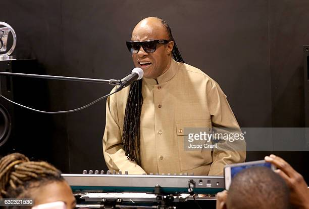 Musician Stevie Wonder performs for the crowd at the 2017 NAMM Show at the Anaheim Convention Center on January 21 2017 in Anaheim California