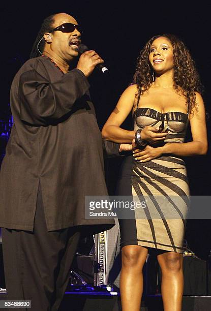Musician Stevie Wonder performs on stage with his daughter Aisha Morris at Vector Arena on October 30 2008 in Auckland New Zealand