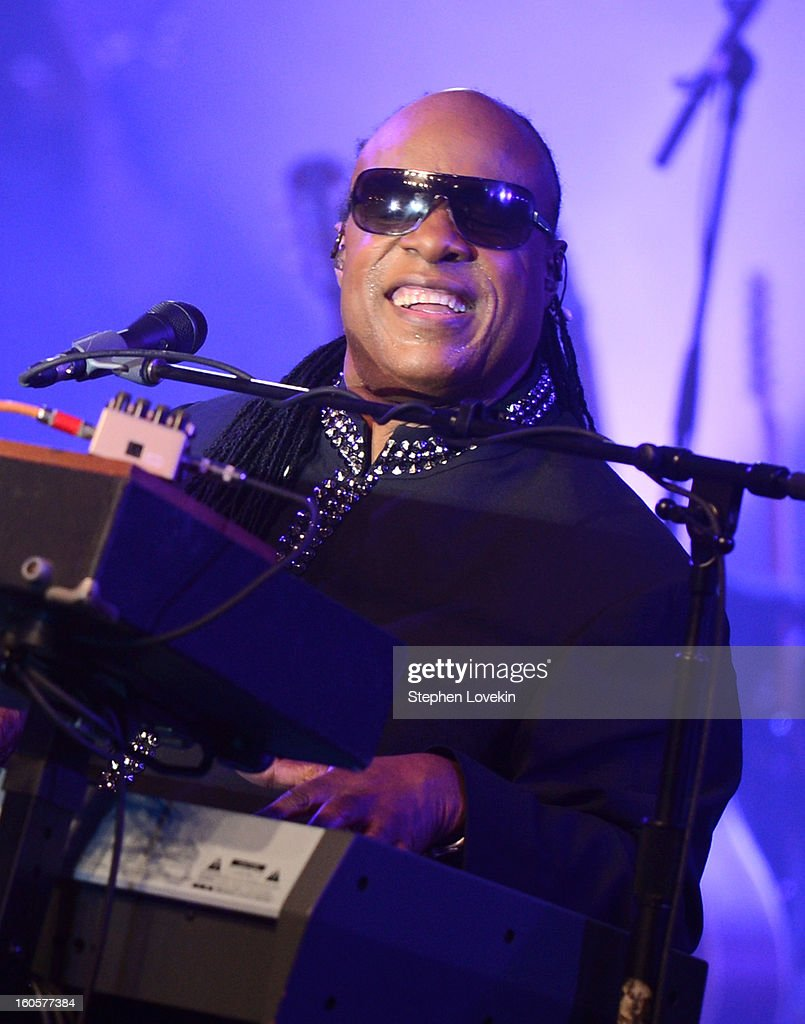 Musician <a gi-track='captionPersonalityLinkClicked' href=/galleries/search?phrase=Stevie+Wonder&family=editorial&specificpeople=171911 ng-click='$event.stopPropagation()'>Stevie Wonder</a> performs onstage at Bud Light Presents <a gi-track='captionPersonalityLinkClicked' href=/galleries/search?phrase=Stevie+Wonder&family=editorial&specificpeople=171911 ng-click='$event.stopPropagation()'>Stevie Wonder</a> and Gary Clark Jr. at the Bud Light Hotel on February 2, 2013 in New Orleans, Louisiana.