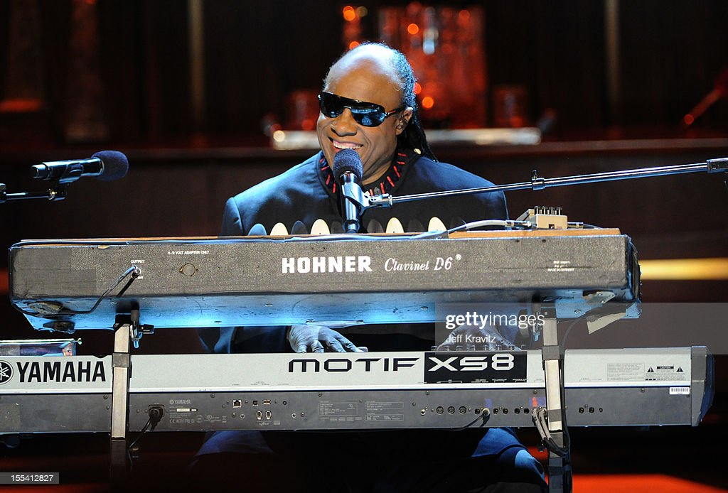 Musician <a gi-track='captionPersonalityLinkClicked' href=/galleries/search?phrase=Stevie+Wonder&family=editorial&specificpeople=171911 ng-click='$event.stopPropagation()'>Stevie Wonder</a> performs onstage at Spike TV's 'Eddie Murphy: One Night Only' at the Saban Theatre on November 3, 2012 in Beverly Hills, California.