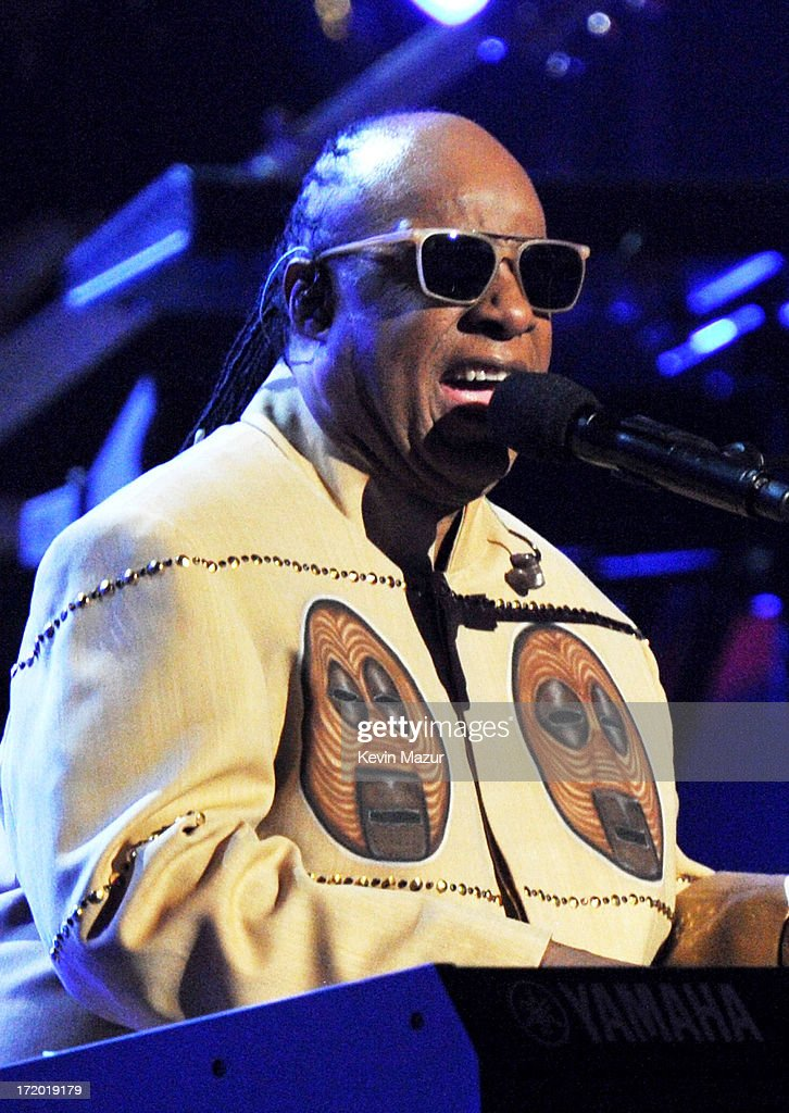 Musician Stevie Wonder performs onstage during the 2013 BET Awards at Nokia Theatre LA Live on June 30 2013 in Los Angeles California