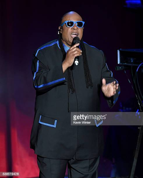 Musician Stevie Wonder performs onstage during the 'Hillary Clinton She's With Us' concert at The Greek Theatre on June 6 2016 in Los Angeles...