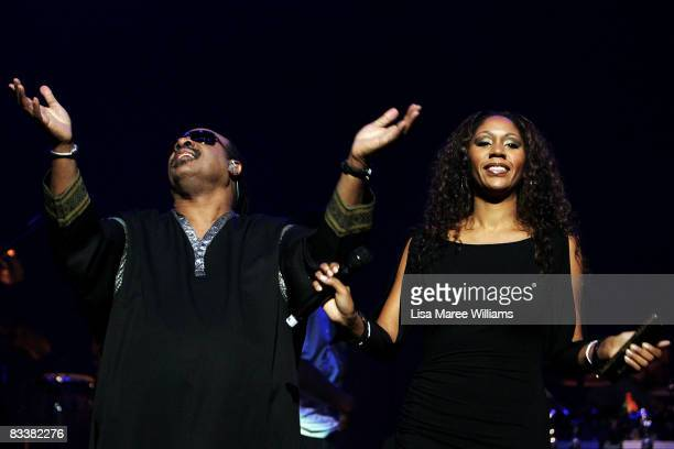 Musician Stevie Wonder performs with his daughter Aisha Morris on stage in concert at Acer Arena on October 22 2008 in Sydney Australia