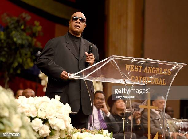 Musician Stevie Wonder speaks at a Celebration Of Natalie Cole's Life at the West Angeles Church of God in Christ on January 11 2016 in Los Angeles...