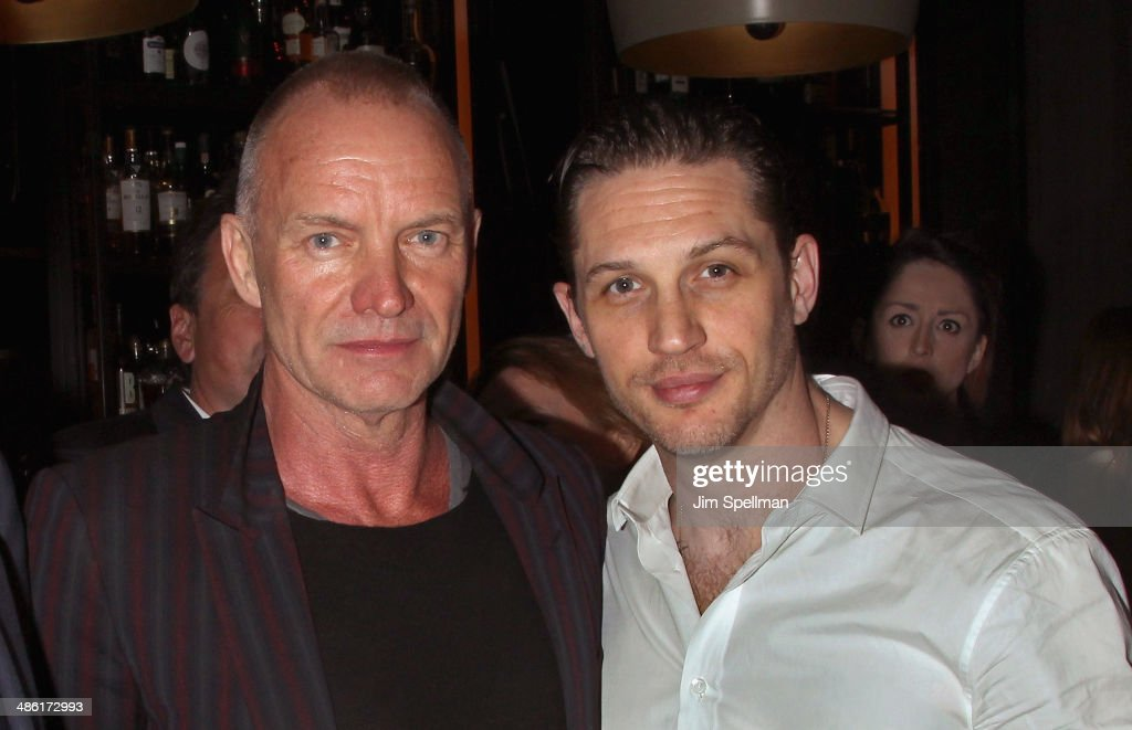 Musician Sting and actor <a gi-track='captionPersonalityLinkClicked' href=/galleries/search?phrase=Tom+Hardy+-+Actor&family=editorial&specificpeople=2209780 ng-click='$event.stopPropagation()'>Tom Hardy</a> attend the A24 and The Cinema Society premiere of 'Locke' after party at The Skylark on April 22, 2014 in New York City.