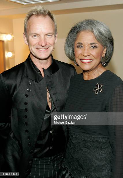 Musician Sting and singer Nancy Wilson backstage at The Thelonious Monk Institute of Jazz and The Recording Academy Los Angeles chapter honoring...