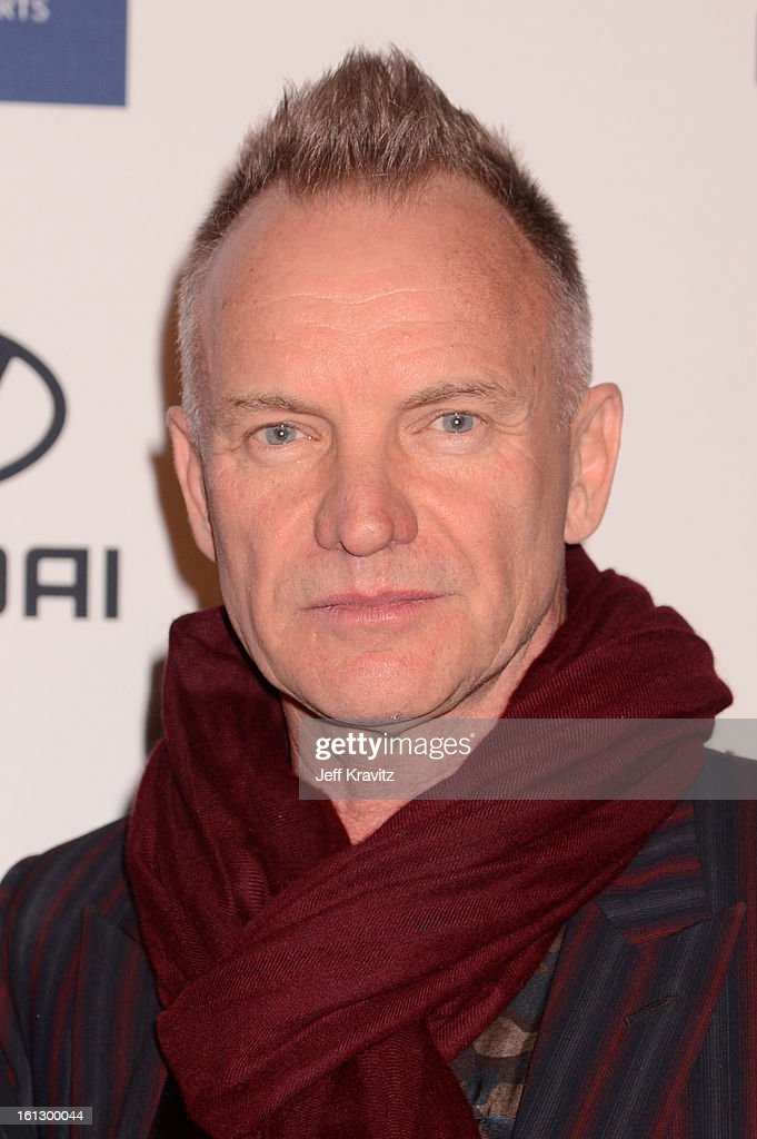 Musician Sting arrives at Clive Davis and The Recording Academy's 2013 GRAMMY Salute to Industry Icons Gala held at The Beverly Hilton Hotel on February 9, 2013 in Beverly Hills, California.