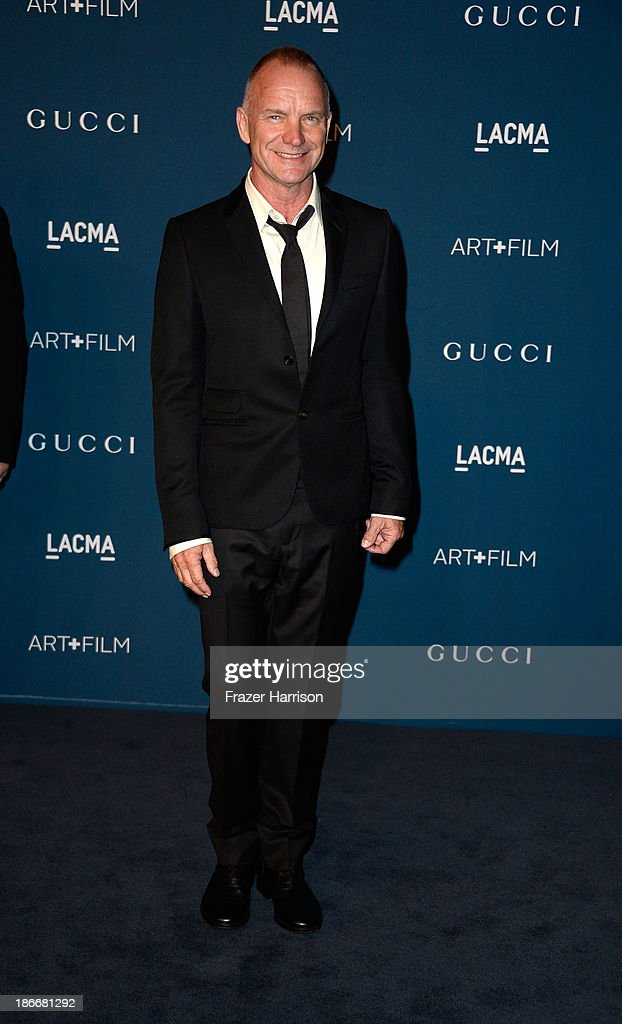 Musician Sting arrives at the LACMA 2013 Art + Film Gala on November 2, 2013 in Los Angeles, California.