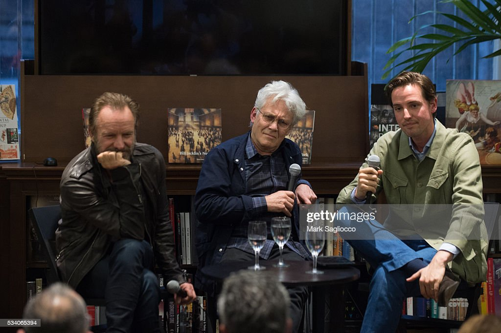 Musician Sting, Artist Bill Jacklin and Moderator Alexander Gilkes attend the Bill Jacklin Book Launch Party at Rizzoli Bookstore on May 24, 2016 in New York City.