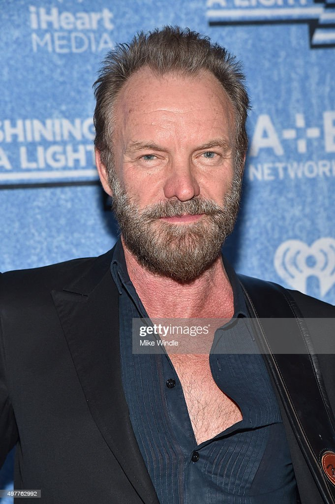 Musician <a gi-track='captionPersonalityLinkClicked' href=/galleries/search?phrase=Sting&family=editorial&specificpeople=220192 ng-click='$event.stopPropagation()'>Sting</a> attends A+E Networks 'Shining A Light' concert at The Shrine Auditorium on November 18, 2015 in Los Angeles, California.
