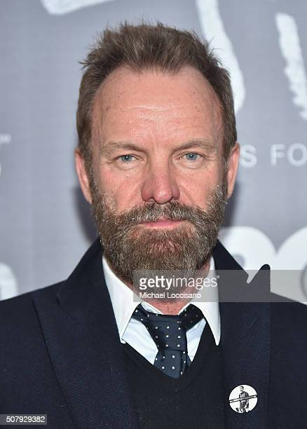 Musician Sting attends the NYC screening of the HBO Documentary Film 'Jim The James Foley Story' at Time Warner Center Screening Room on February 1...