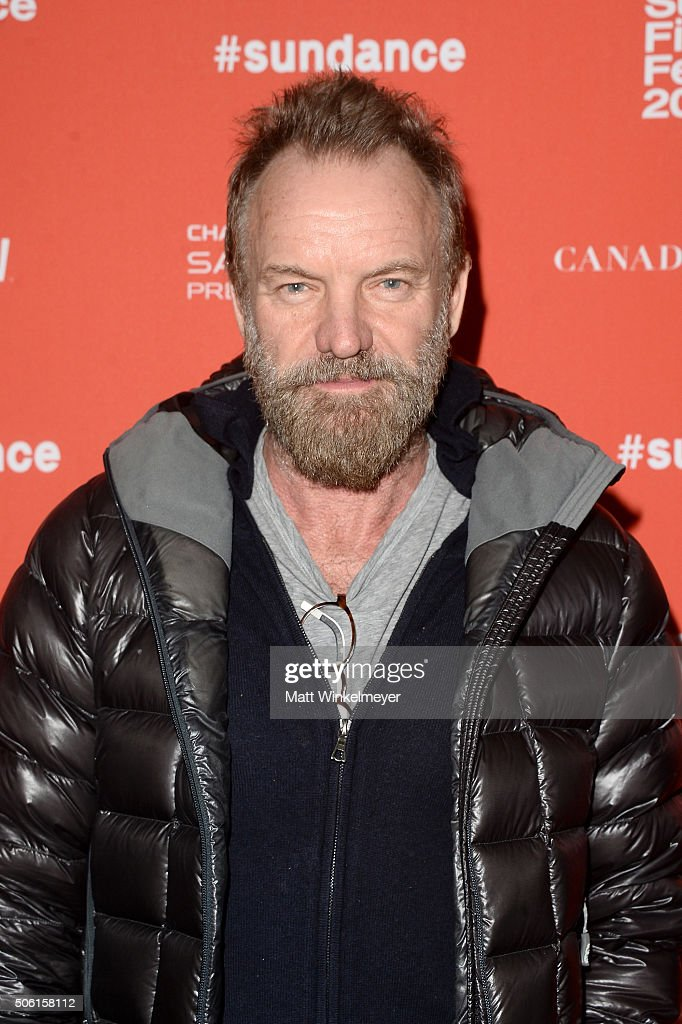 Musician Sting attends the 'Sky Ladder: The Art Of Cai Guo-Qiang' Premiere during the 2016 Sundance Film Festival at The Marc Theatre on January 21, 2016 in Park City, Utah.
