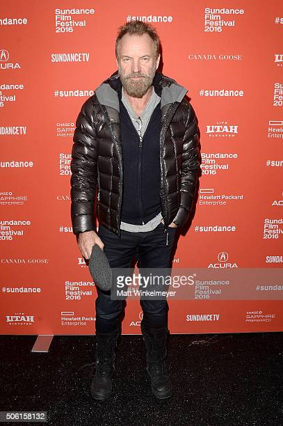 Musician Sting attends the 'Sky Ladder The Art Of Cai GuoQiang' Premiere during the 2016 Sundance Film Festival at The Marc Theatre on January 21...