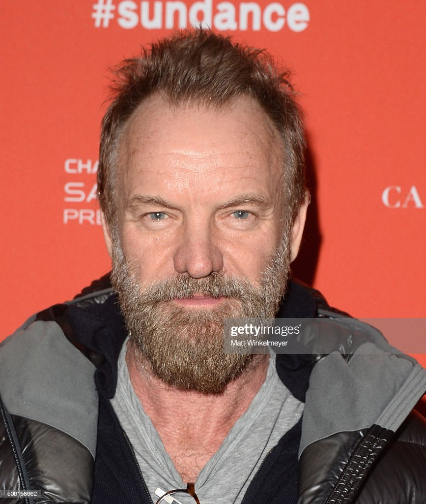 Musician <a gi-track='captionPersonalityLinkClicked' href=/galleries/search?phrase=Sting&family=editorial&specificpeople=220192 ng-click='$event.stopPropagation()'>Sting</a> attends the 'Sky Ladder: The Art Of Cai Guo-Qiang' Premiere during the 2016 Sundance Film Festival at The Marc Theatre on January 21, 2016 in Park City, Utah.