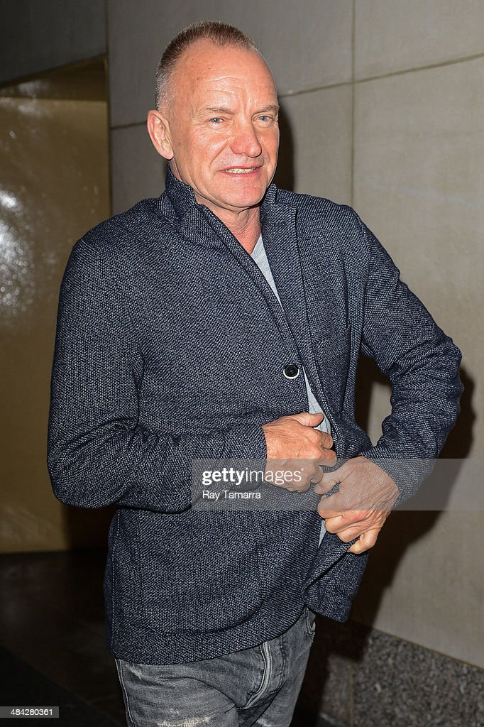 Musician Sting leaves the 'Today Show' taping at the NBC Rockefeller Center Studios on April 11, 2014 in New York City.